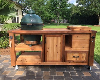 Custom Grill Table Or Grill Cart For Big Green Egg, Kamado Joe, Primo Or