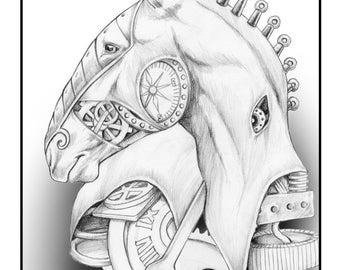 Adult Coloring Page Steampunk Horse For Adults, Horse, Equine Art Digital Download