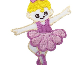 Ballerina Patch Iron / Sew On Embroidered Badge in Pink Ballet Dress Tutu Shoes