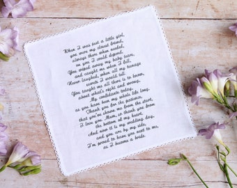 Personalised ladies Handkerchief, Any Message up to 600 Characters, Wedding Handkerchief, Ladies Hankie, Embroidered Hankie in Gift Box