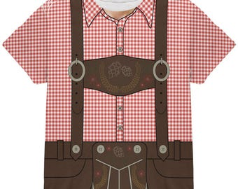 Oktoberfest Lederhosen Costume German Brown Suspenders All Over Youth T Shirt