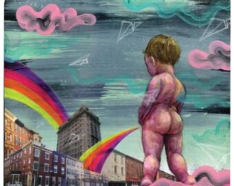 "Funny Art - Wall Art Poster - Wall Decor - Mixed Media Art - Urban Art - ""Playground"" by Black Ink Art"