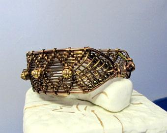 BRACELET, Bronze Wirewrapped Cuff Bracelet
