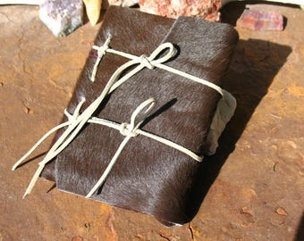 Primitive Hair-on Hide Leather Journal~Book of Shadows~ Small Blank Journal~200 pages