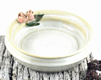 Ceramic Bowl Trinket Dish Candle Holder Jewellery Storage Stoneware Unique Handmade Pottery Home Decor