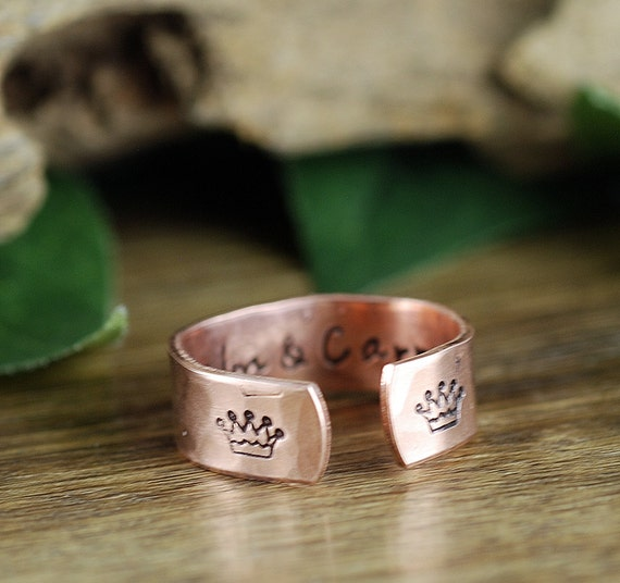 Inspirational Ring, Crown Ring, Keep Calm and Carry On Ring, Secret Message Ring, Yoga Gift, Personalized Ring, Personalized quote Ring