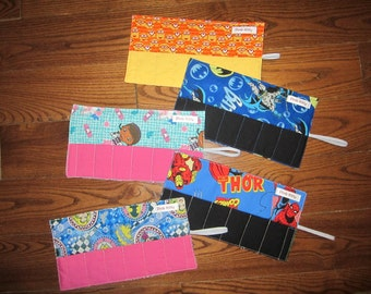 SALE - Crayon roll - you choose print - travel crayon roll - party favour crayon roll