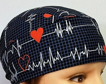 Skull Cap, Chemo Cap, Surgical Cap, Handmade, Hair Loss, Helmet Liner, Nurses, Do Rag, Hat, Motorcycle, Head Wrap, Head wear, Red Hearts