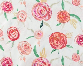 Crib Sheet, Floral, Watercolor, Green, Pink, Nursery, Gift, Toddler Fitted Sheet, Bedding, Rose