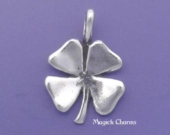 Four Leaf CLOVER Charm .925 Sterling Silver Irish Shamrock Good Luck Pendant - lp47
