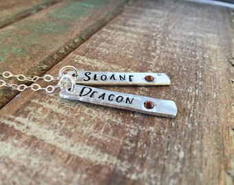 Personalized hand stamped name necklace- ncklace with names and birthdtones- gift for mom- gift for grandmother- multiple names bar necklace