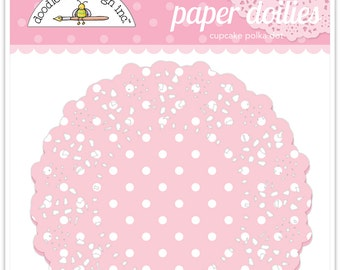 Paper Doilies (Cupcake Polka Dot) from Doodlebug - 75 count