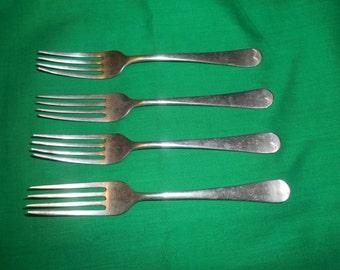 "Four (4), Circa 1920's, Stainless-Nickel, 6 5/8"" Dinner Forks, from B.H.P. Co., Ltd, Australia."