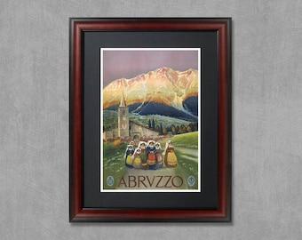 Abruzzo Italy, travel poster, Abruzzo print, Abruzzo poster, travel decor, Italy print, Abruzzo wall art, Abruzzo art