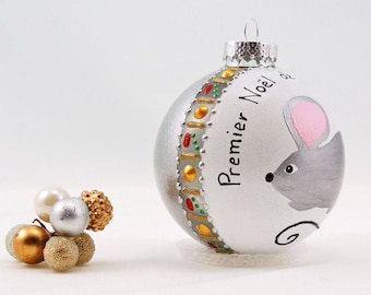 Cute mouse hand painted glass ornament