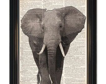 Elephant dictionary art print. Charging Elephant art on upcycled dictionary book page, 8x10 inch animal art wall decor
