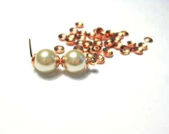 100pcs Rose Gold Tiny Bead Caps 3mm Brass Bead Cones