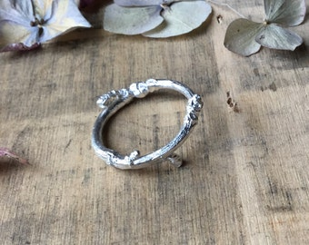 Sterling silver twig and bud ring, woodland ring, stacking ring