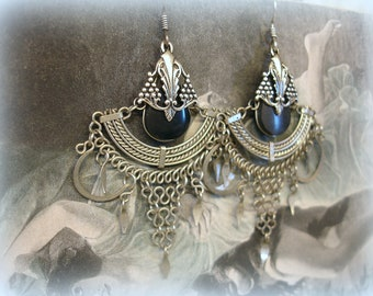 vintage afghan tribal earrings boho hippy chick silver with black chandeliers sterling ear wires