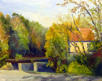 Plein Air Original Landscape Oil Painting on Canvas The Sunlit Mill