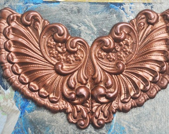 Neo Victorian fan ornament, brass stampings made in America, Caramel Patina, Brass Ornaments, patina stampings, patina findings