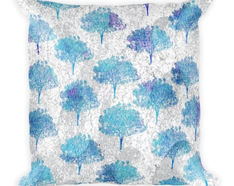 Square Pillow Trees with blue abstract texture