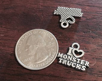 4 Antique Silver I Love Monster Trucks Charms