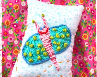 Silly Butterfly Mini Pillow Hand Embroidered YelliKelli Ready to Ship