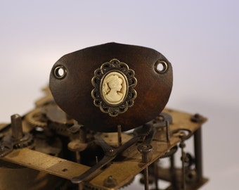 steampunk leather eye patch ,cameo  (made to order)