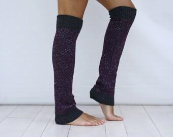 Charcoal Purple  and Silver Shining Mix HoneyComb PAttern Leg Warmer // Charcoal Knitted Legwarmer