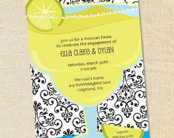 Sweet Wishes Mexican Fiesta Margarita Cocktail Party Invitations - PRINTED - Digital File Also Available