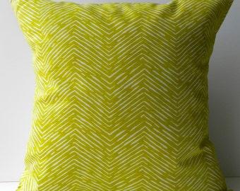 New 18x18 inch Designer Handmade Pillow Case yellow/green chevron pattern.