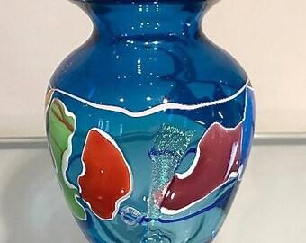 Handblown Glass Vase- Coastal Shard Blue