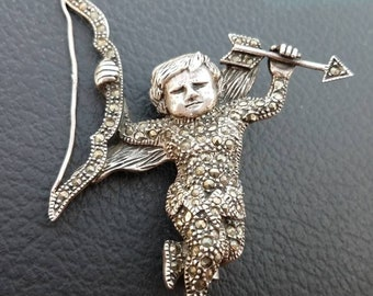 Beautiful sterling silver marcasite cherub angel pin
