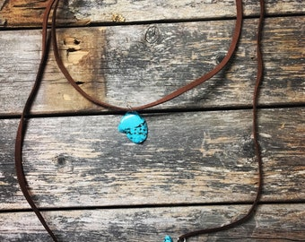 Turquoise Slab and Nugget Wrap Chokers