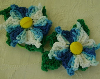 2 - Crocheted Blue White Flowers on Hair Friendly Bands For Your Pony Tail