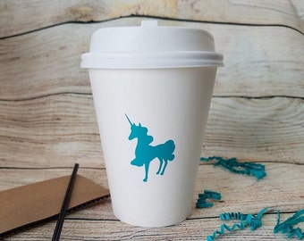 Unicorn Birthday Party Coffee Cups Stir Sticks and Sleeve - Magical Pillow Boxes - Gift Treat Bags - Fairy Tale - Mythical Horse Animal