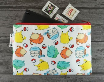 I Choose You! Cute Pokemon Patterned Nintendo New 2DS XL / 3DS XL / PS Vita / Kindle Zip Case - also for tablets, pencils, tools & makeup