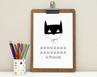 Batman Print - Nursery Art - Kids Room Art - A4 Print - Superhero Print