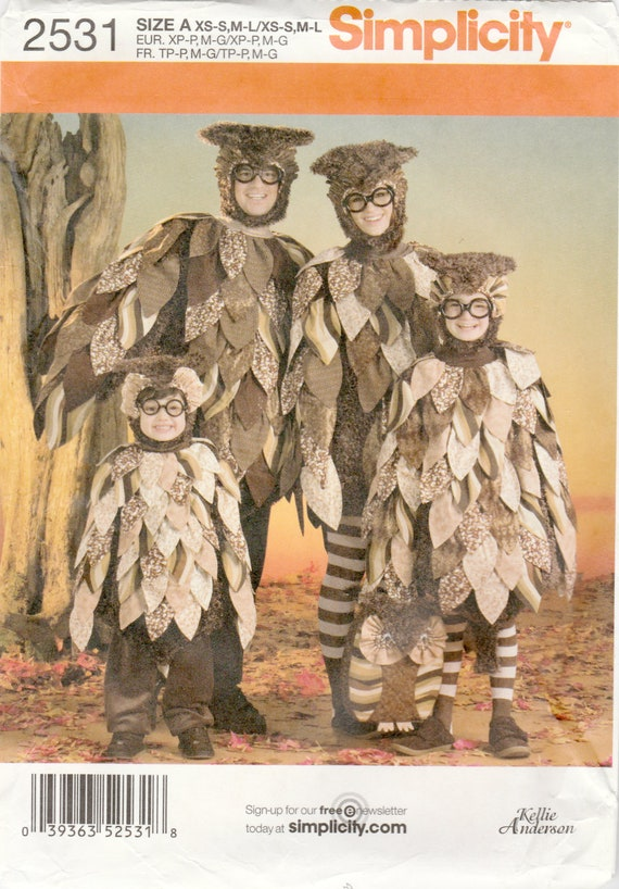 Childsu0027 Teens and Adult Owl Costume Hood and Bag Simplicity 2531 Sewing Pattern Childu0027s and Adult XS S. M L Uncut from BeviesPatterns on Etsy Studio & Childsu0027 Teens and Adult Owl Costume Hood and Bag Simplicity 2531 ...