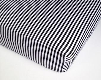 Black White Baby Bedding - French Stripe /Mini Crib Sheet Options / Changing Pad Cover / Black Stripe Crib Sheet / Baby Sheets