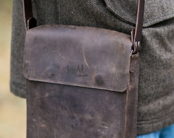 leather shoulder bag, Handmade, Small Leather Mens Messenger Bag, Leather Messenger Bag, brown shoulder bag, brown bag