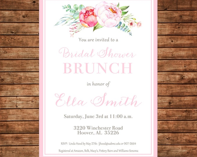 Girl Invitation Watercolor Peonies Floral Bridal Baby Shower Party - Can personalize colors /wording - Printable File or Printed Cards