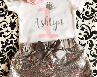 Birthday Girl Outfit, birthday Set, Personalize Birthday Body suit, First Birthday, 2nd Birthday, silver sequins shorts, crown , princess