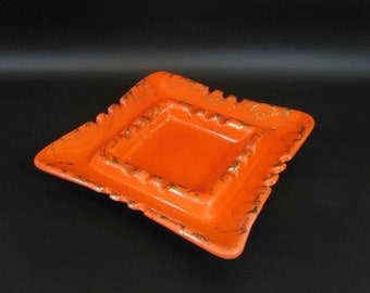 Vintage California Pottery Ashtray in Orange and Gold / Retro Art Pottery