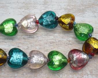 Lampwork Glass Heart Foil Mixed Color Beads 9pcs 19mm