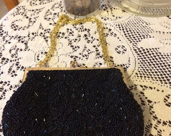 Vintage 50s Stunning Black Sequin Heavy Glass Beads Gold Chain Evening Bag Ladies Clutch Gift for Her