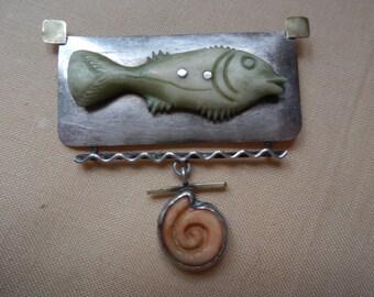 Artsy Sterling Silver Fish Brooch!