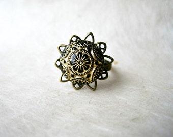 Black Mosaic Ring, Vintage Ring, Glass Ring, Adjustable Ring, Antique Brass Filigree Ring, Vintage Black Ring Gold Etched Ring.