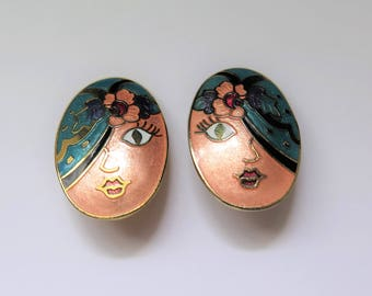 Vintage Quirky Cloisonne Face Earrings, 1980s Jewelry